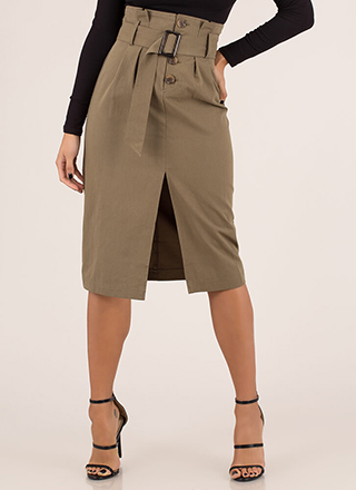 High Fashion Belted High-Waisted Skirt