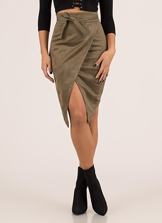 Buy Me Tulips Tied Faux Suede Skirt
