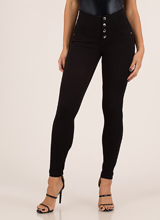 Hot Buttons High-Waisted Jeggings
