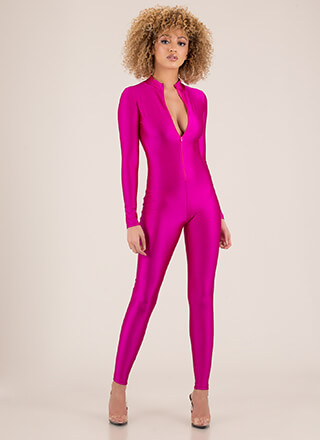 Sheen Stealer Zip-Front Nylon Jumpsuit