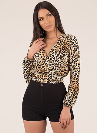 Out In The Wild Tied Leopard Crop Top
