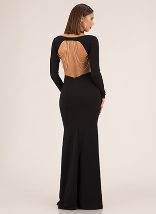 Back Beauty Slit Draped Chain Gown