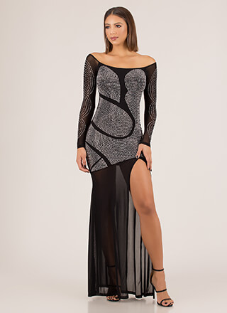 Sheer Brilliance Jeweled Mesh Gown