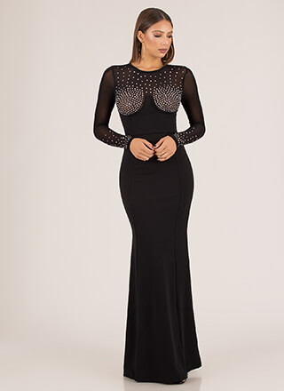 Bust Dressed List Sheer Jeweled Gown