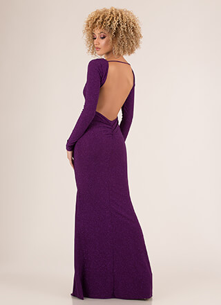 Glamour In Glitter Open-Back Gown