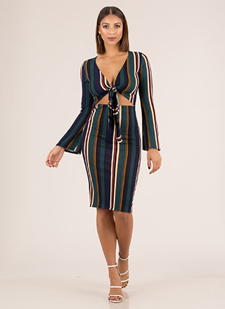 Line Up Perfectly Striped 2-Piece Dress