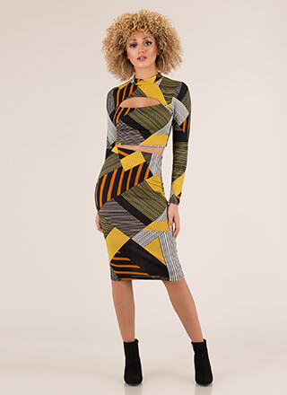 Lines And Shapes Geometric 2-Piece Dress
