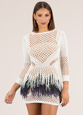 Good Catch Tasseled Crochet Minidress
