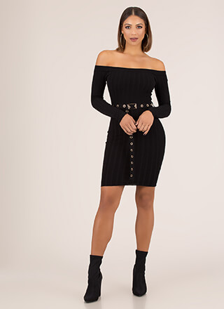 Belted Out Ribbed Off-Shoulder Dress