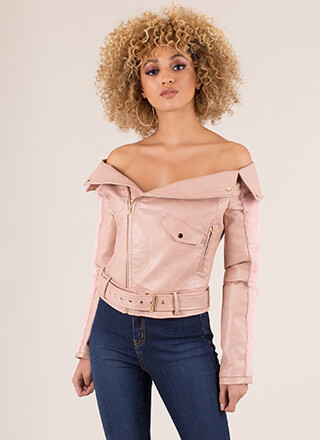 Cool It Faux Leather Off-Shoulder Jacket