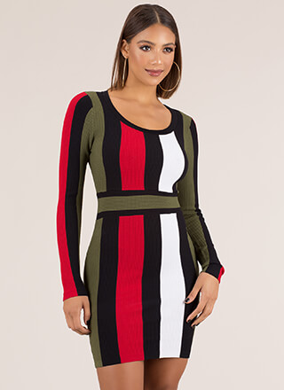 Stripe Force Textured Knit Dress