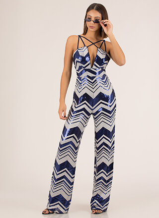 Strappy In Sequins Chevron Jumpsuit