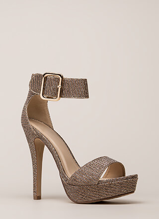 Glittery Glam Ankle Strap Platforms