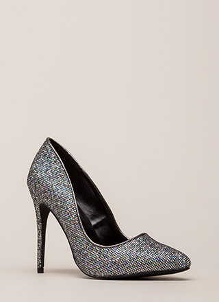 At The Disco Ball Pointy Glittery Pumps