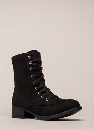 Fired Up Faux Suede Combat Boots