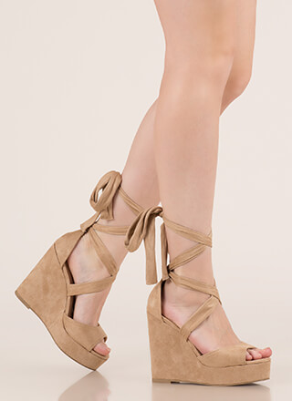 Tied With Ribbon Lace-Up Wedges