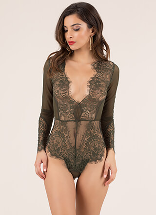 More Lace Please Mesh Thong Bodysuit