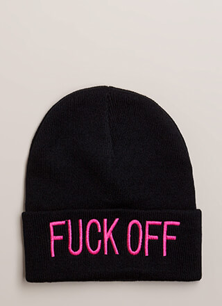 Fuck Off Embroidered Knit Beanie