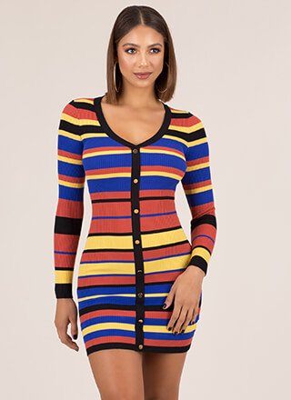 Fashion Line Striped Rib Knit Dress