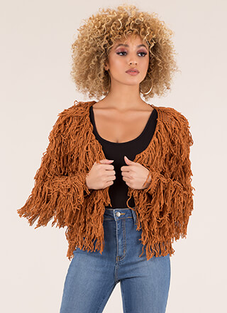 In Action Shaggy Fringed Cardigan