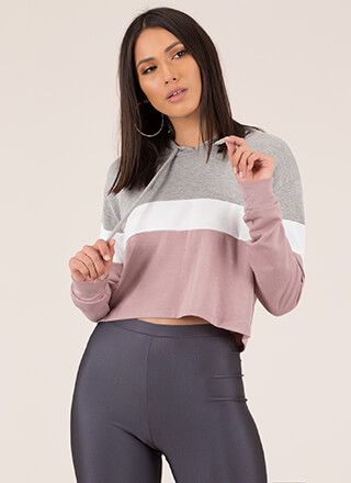 Hoodie Girl Striped Colorblock Crop Top