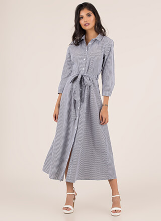 Fifties Flare Striped Maxi Shirt Dress
