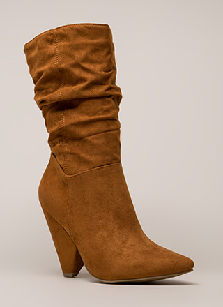 Fashion School Slouchy Cone Heel Boots