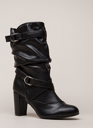 Strappy And Slouchy Faux Leather Boots