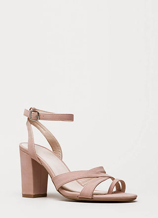 Toe The Line Chunky Strappy Heels
