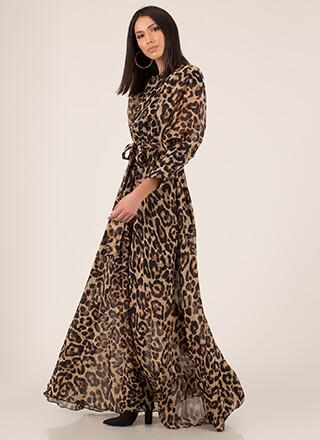 Luxe Leopard Flowy Tied Maxi Dress