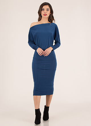 Shrug It Off-Shoulder Dolman Midi Dress
