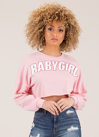 Baby Girl Graphic Cropped Sweatshirt