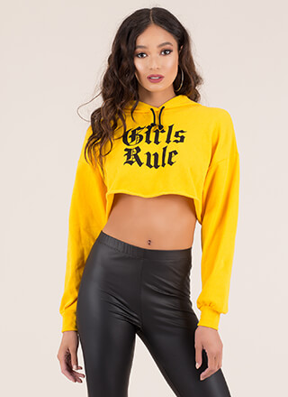 Girls Rule Cropped Graphic Hoodie