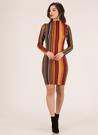 Back In Lines Striped High-Neck Dress