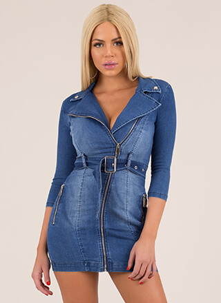 Make It Moto Belted Denim Minidress