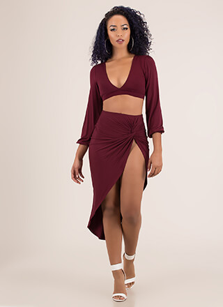 So Knotty High-Slit Top And Skirt Set