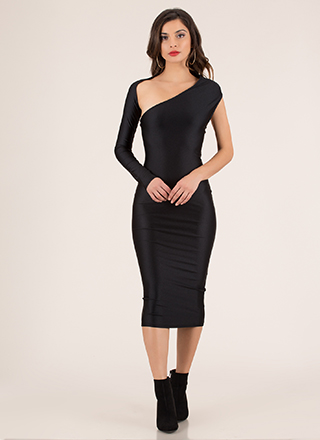 Showstopper Asymmetrical Midi Dress