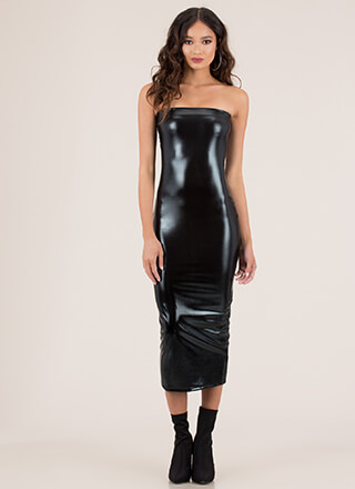 Pour You Strapless Faux Leather Maxi