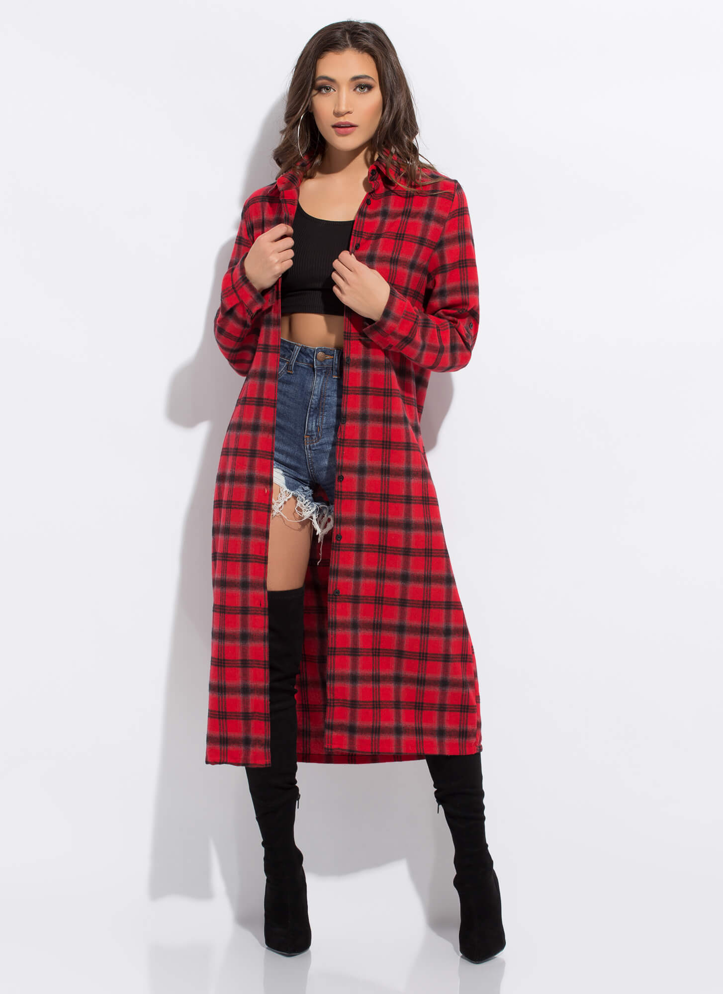 Plaid Girls Club Flannel Shirt Dress