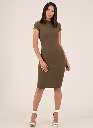 Neck And Neck Rib Knit Midi Dress