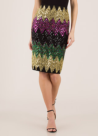 Sequined And Spangled Zigzag Skirt