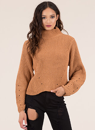 Hole New World Turtleneck Sweater