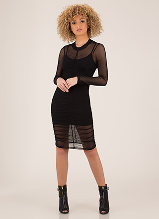 The Layers Club Ruched Mesh Dress
