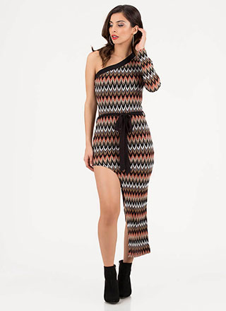 Long And Short Asymmetrical Knit Dress