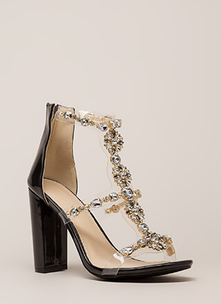 Flower Power Jeweled Faux Patent Heels
