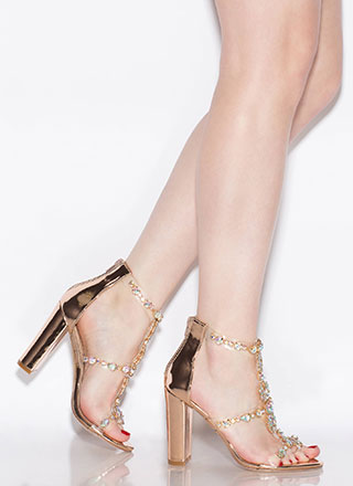 Flower Power Jeweled Metallic Heels