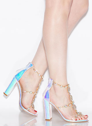 Flower Power Jeweled Holographic Heels