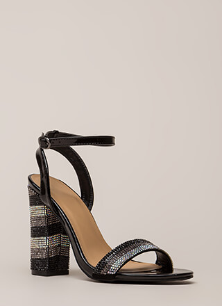 Stripe It Rich Rhinestone Chunky Heels