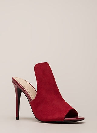 Bite Your Tongue Paneled Peep-Toe Heels