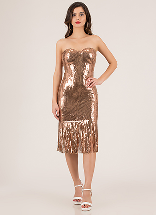 Stun In Sequins Strapless Fringed Dress